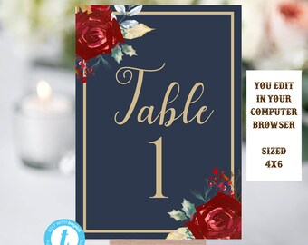 Table Numbers, Wedding Table Number, Editable Template, Table Numbers Instant Download, Table Numbers Template, DIY Wedding, Navy Blue, Gold