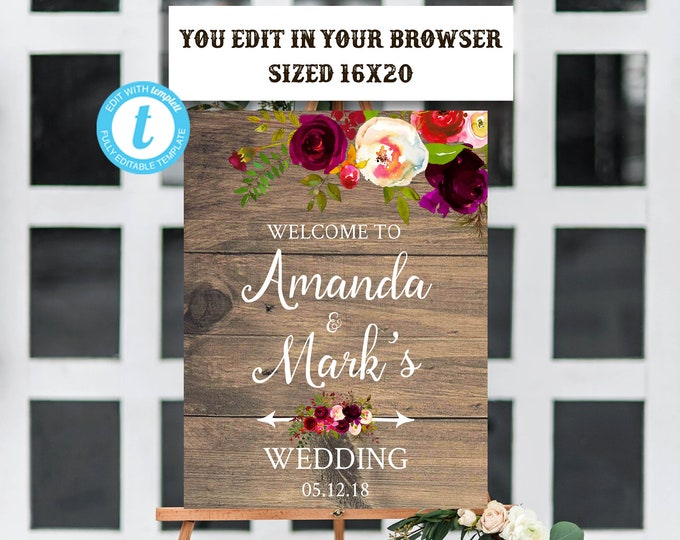 Rustic Boho Burgundy Marsala Wedding Welcome Sign Template, Editable, Printable, Instant Download, Burgundy, Marsala, Welcome Sign, DIY