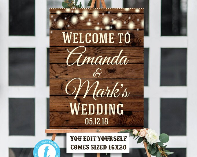 Wedding Welcome Sign Template, Rustic Sign, Rustic Wedding Sign, Bridal Shower Sign, Welcome Sign, Digital Sign, Printable, Instant Download