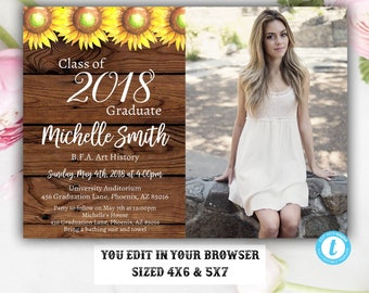 Rustic grad invite etsy sunflower rustic graduation invitation template instant download rustic editable class of 2018 filmwisefo Image collections