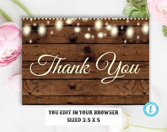 Rustic Thank You Card Template, Barn Wood Wedding Thank You Cards, Printable Rustic Thank You Cards, Instant Download, Editable, DIY, Rustic