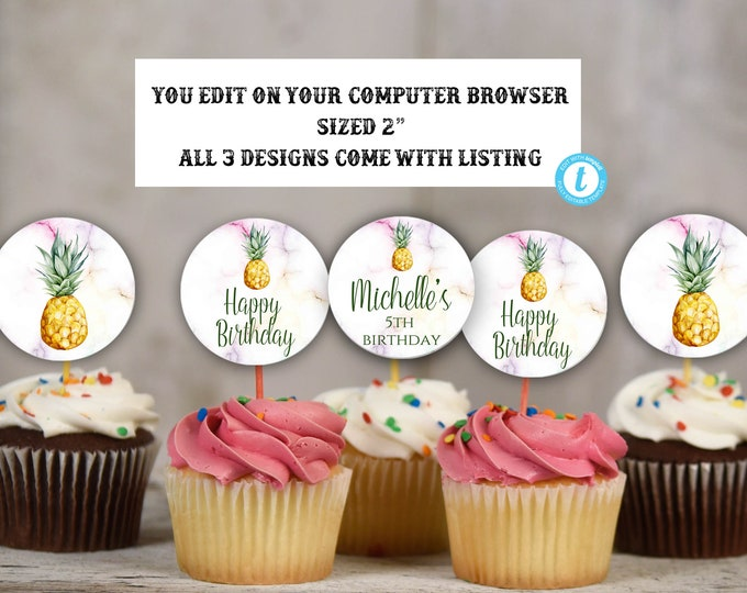 Pineapple Cupcake Toppers, Pineapple Template, Pineapple Birthday, Pineapple Decor, Pineapple Tags, Favor tags, Instant Download, Template