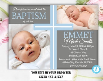 Baptism Invitation Boy Template, Baptism Invitation, Boy Baptism Invitation, Printable Baptism Invitation, You Edit, DIY, Instant Download