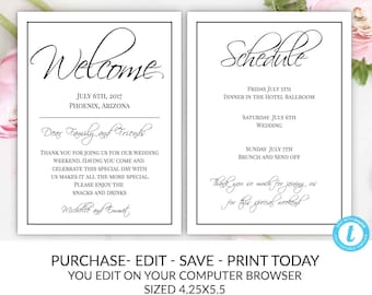 wedding welcome note template welcome note wedding template you edit welcome bag letter hotel card itinerary agenda printable diy