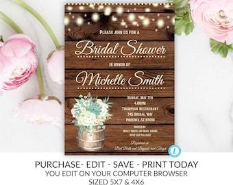 c6398308cad5 Rustic Greenery Bridal Shower Invitation Template Boho Vintage Country Wine  Barrel Editable Printable Western DIY Invite