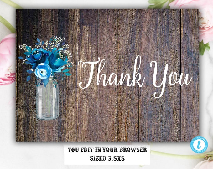 You Edit Thank You Card Template, Thank You Card, Thank You Template, Rustic Thank You Card, DIY Thank You, Instant Download, Editable, DIY