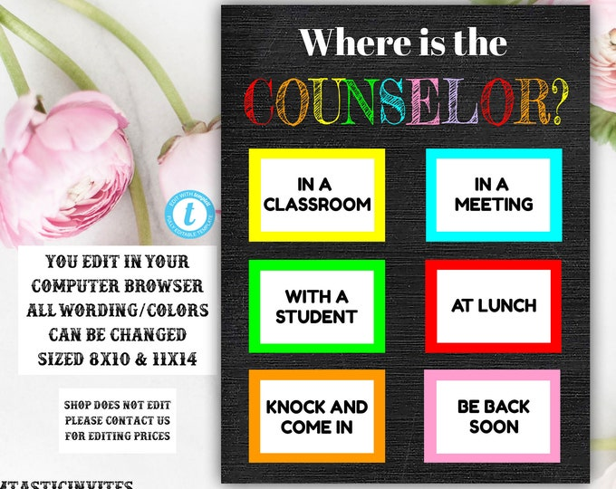 Where is the Counselor Sign Template, Counselor, Chalkboard, Editable, Printable, Teacher Sign, Where is the Sign, Classroom Decor, Teacher