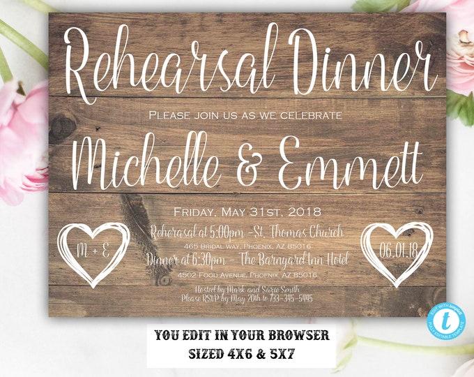 Wedding Rehearsal Invitation, Rustic Rehearsal Dinner Invitation,Rehearsal Template, Instant Download, Editable, Printable, Rehearsal Invite