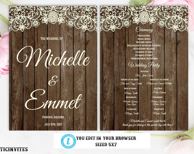 Rustic Wedding Program, Wedding Program, Rustic Card, Rustic Wedding, Digital Card, Printable Card, Lace, Rustic, INSTANT DOWNLOAD, Template