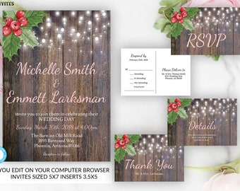 holiday wedding invitation set christmas wedding invitation rustic christmas wedding invitation set package xmas wedding winter wedding