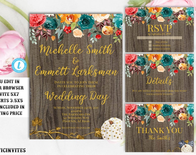 Rustic Fall Wedding Invitation, Rustic Wedding Template, Wedding Template, Fall Wedding Template, You Edit, wedding invitation suite, DIY