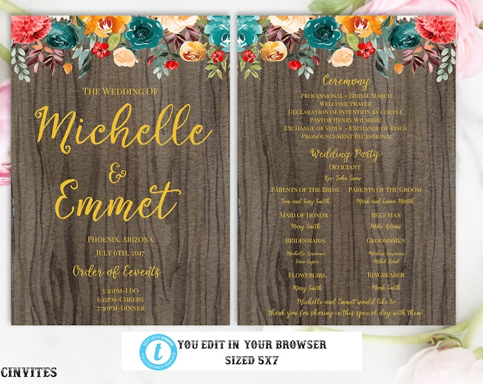 Fall Floral Boho Burnt Orange Teal Red Wedding Ceremony Program Template, Instant Download, You Edit, Editable, Printable, Template, DIY