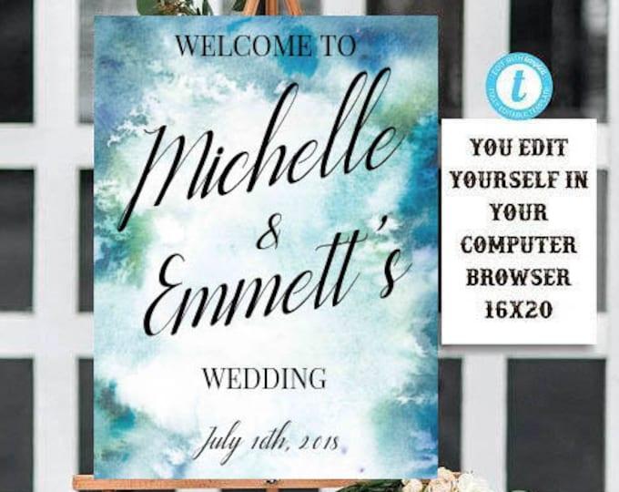 Wedding Welcome Sign Printable Template, Welcome Sign Template, Watercolor, Wedding, Custom Wording, Template, Editable, Printable, DIY