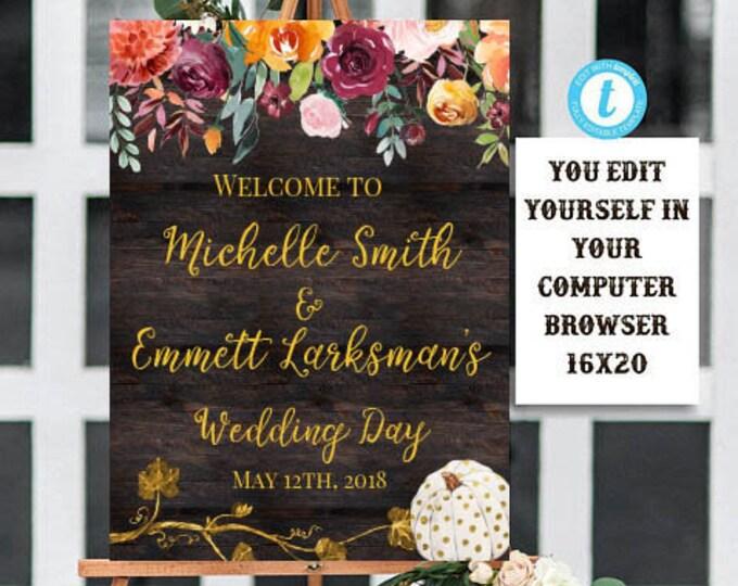 Edit Yourself Welcome Wedding Sign, Rustic Wedding Welcome Sign, Wedding Welcome Sign Template, Fall, Pumpkin, Boho,Floral, Instant Download