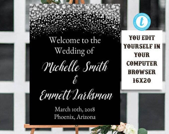 Wedding Welcome Sign Template, Black and Silver Welcome Sign Template, Instant Download, Printable, Editable, Diamond Wedding, Template, DIY