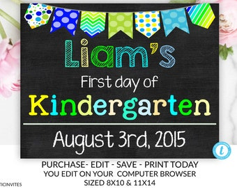 first day of school chalkboard sign template printable etsy