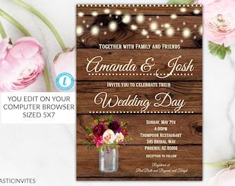 rustic wedding invitation template etsy