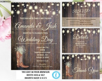 rustic wedding invitation template country wedding invitation wedding invitation suite instant download rustic wedding template boot