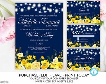 wedding invitations blue and yellow etsy