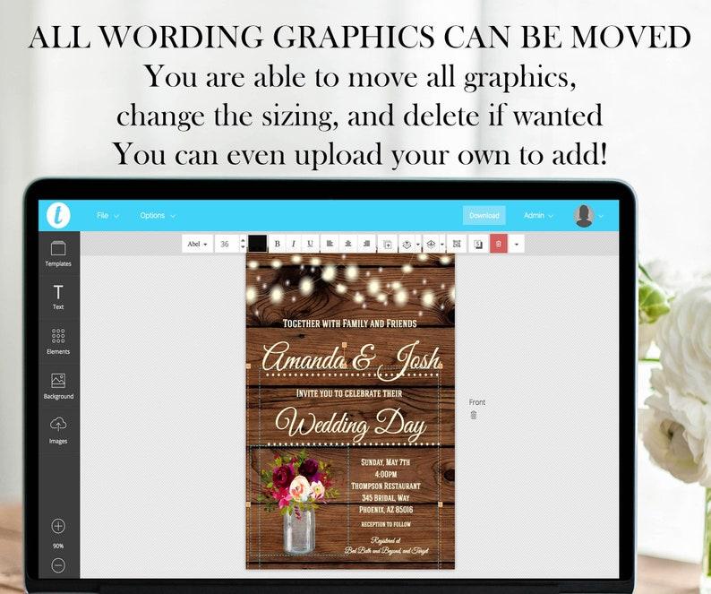 Light Blue Gray Wedding Invitation Set Package Boho Editable Printable Floral Wedding Invitation Online Electronic DIY Cheap Wedding Invite