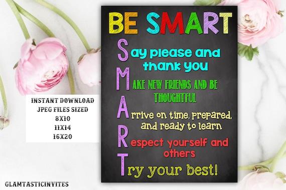 Classroom Decor Teacher Decor Be Smart Good Choices Quotes Etsy Extraordinary Download Smart Pretty Qoutes