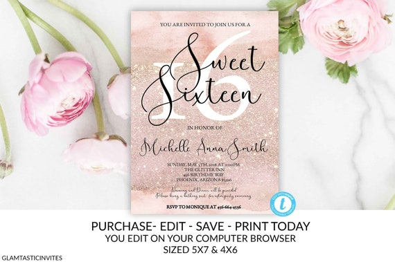Rose Gold Glitter Sweet Sixteen Birthday Party Invitation Template Editable 16 Instant Download DIY