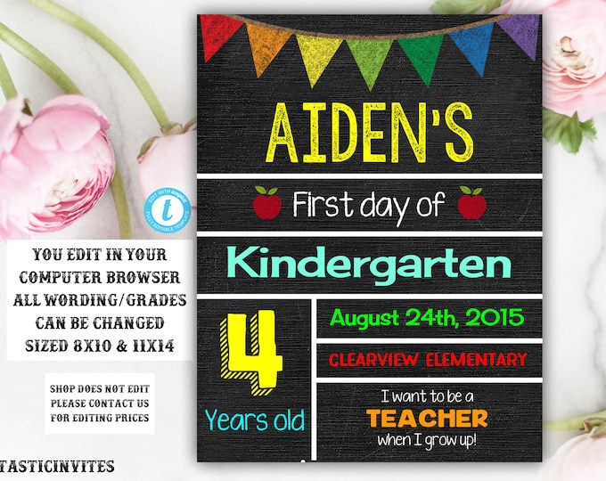 First Day of School Sign, Back to School, School Chalkboard Template, First day of Kindergarten Sign, Any Age, Any Grade, Instant Download