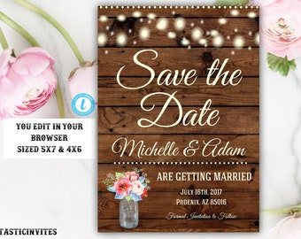 Rustic Save-The-Dates, Printable Rustic Save the Date Postcard, Save the Date, Rustic Wedding, Printable Save the Date, Instant Download