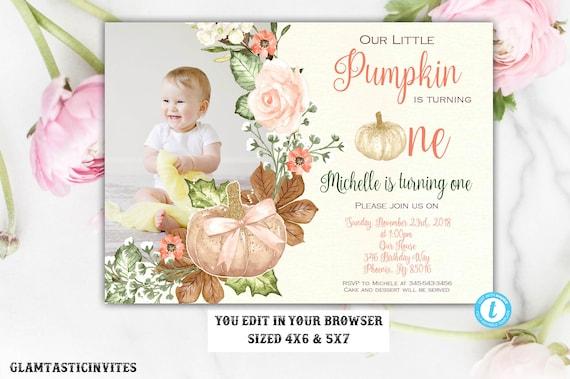 Girl Pumpkin First Birthday Invitation Template Our Little Pumpkin
