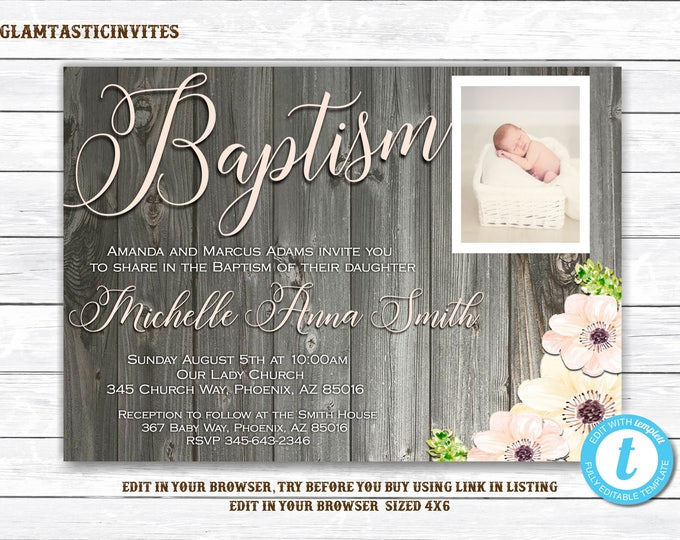Baptism Invitation Girl Template, Baptism Invitation Printable, Girl Baptism Invitation, Baptism Template, You Edit, Rustic, Printable, DIY
