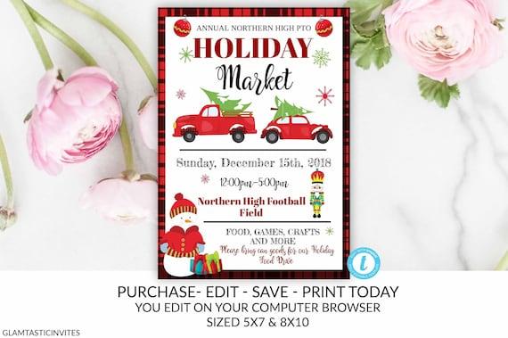 Christmas Fundraiser Flyer.Holiday Market Flyer Christmas Market Flyer Pto Pta