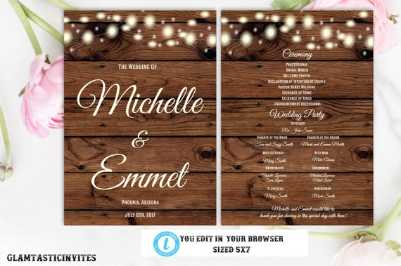 rustic wedding program template ceremony program template wedding
