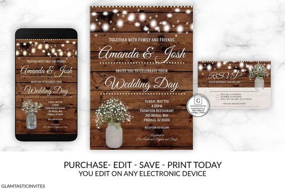 Rustic Lights Wedding Invitation Set