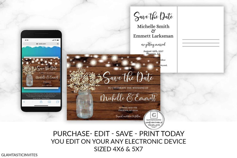 Rustic Save the Date Editable Save the Date Template image 0