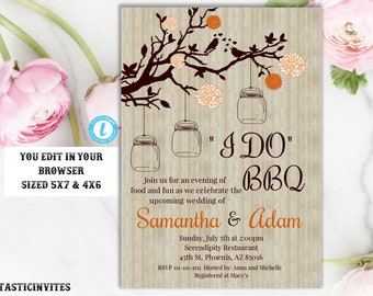 I Do BBQ Couples Shower Invitation Template, BBQ Couples shower, BBQ Invitation, I Do BBq Invitation, I Do Bbq, Editable, Instant Download