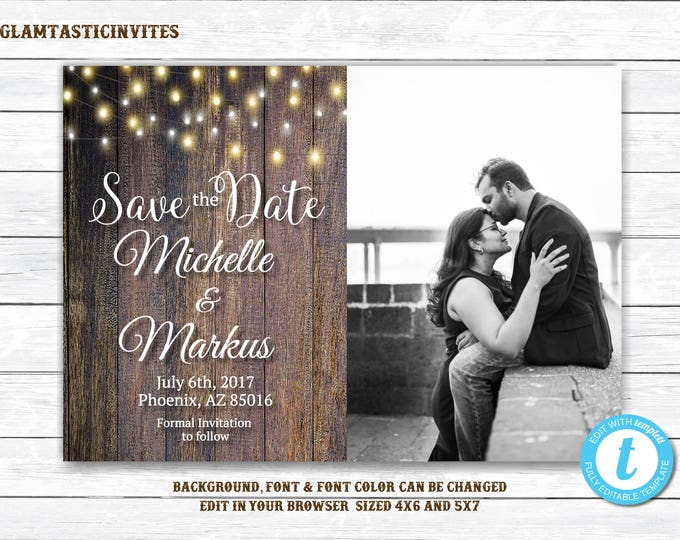 Rustic Save-The-Dates, Printable Rustic Save the Date Postcard, Save the Date, Rustic Wedding, Printable Save the Date, Template, YOU EDIT