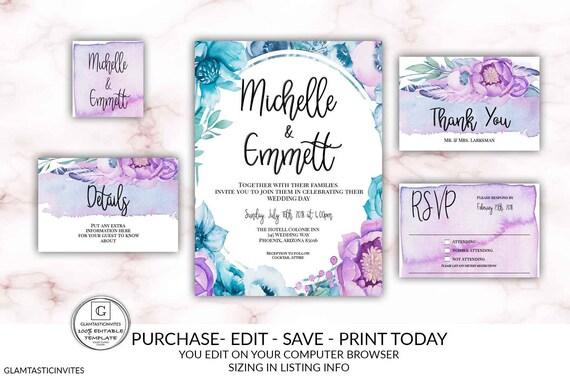 Electronic Wedding Invitation: Blue Purple Violet Wedding Invitation Kit Set Editable