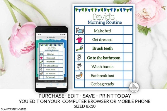 Boy Printable Editable Chore Chart Instant Download Daily Activities