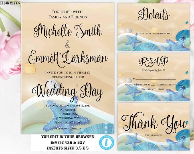 Beach Wedding Invitation, Wedding Template, Instant Download, Beach, Elopement, Destination Wedding Invitation, Sand, Ocean,Beach Party, DIY