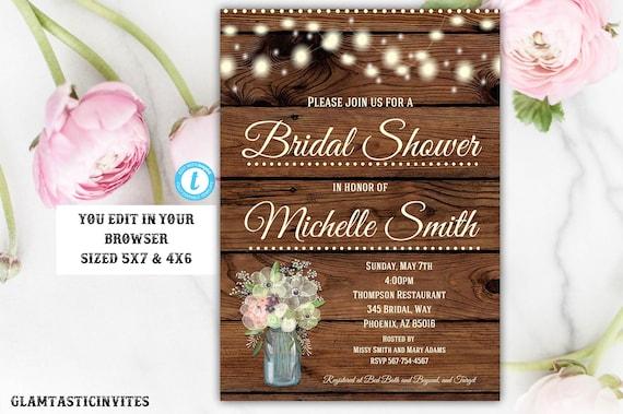 Rustic Bridal Shower Invitation Rustic Invitation Bridal Shower