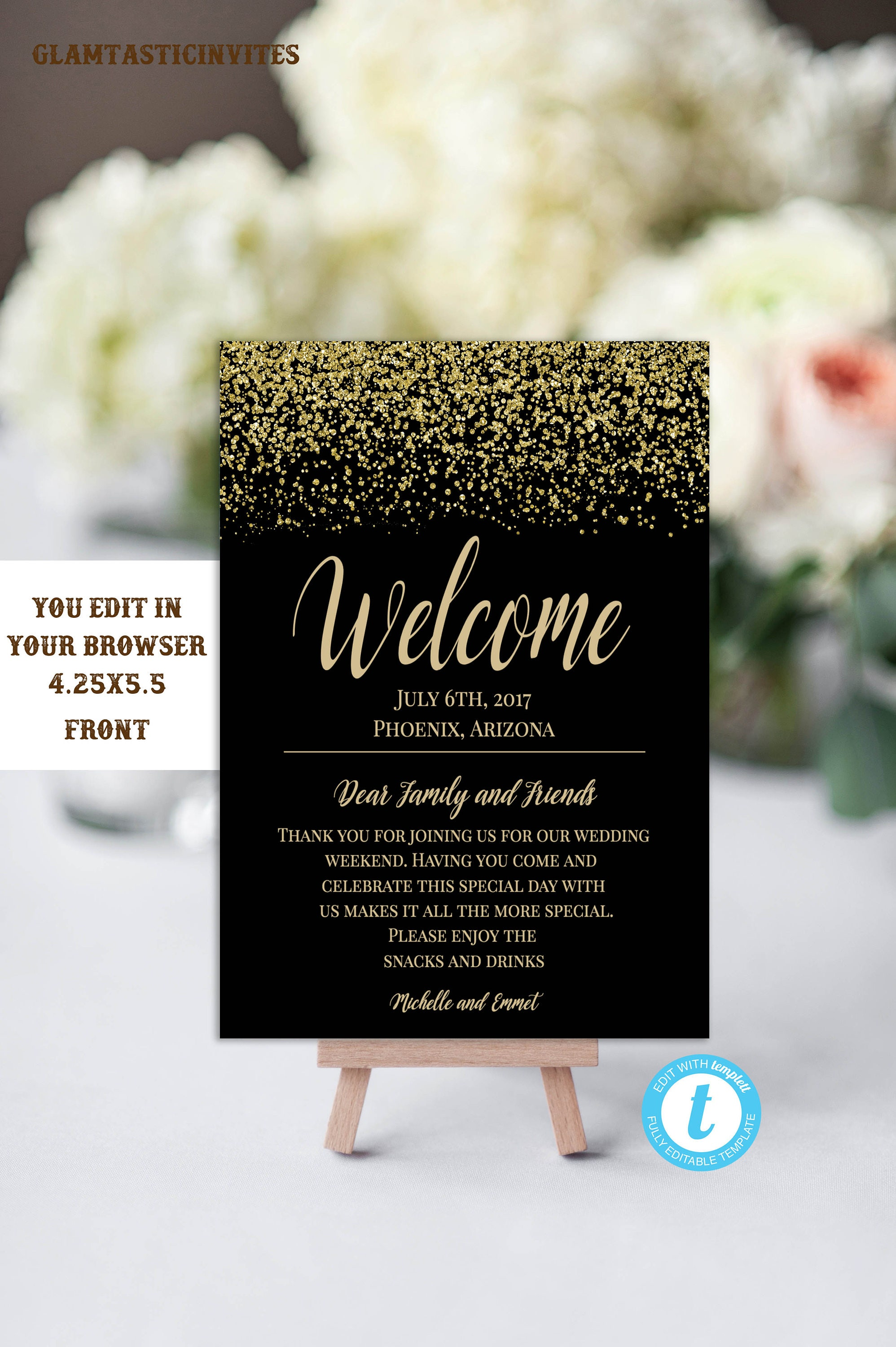 black and gold wedding welcome card template wedding