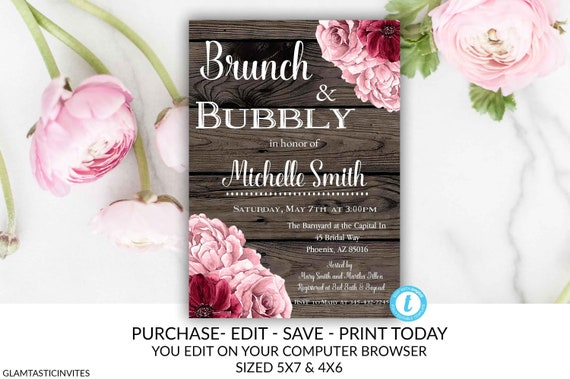 ab4557dbe3b3 Brunch and Bubbly Invitation Template Rustic Burgundy Rose Gold Flower  Instant Download Editable Printable DIY Bridal Shower Floral Card