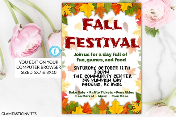 Comprehensive image within free printable fall festival flyer templates