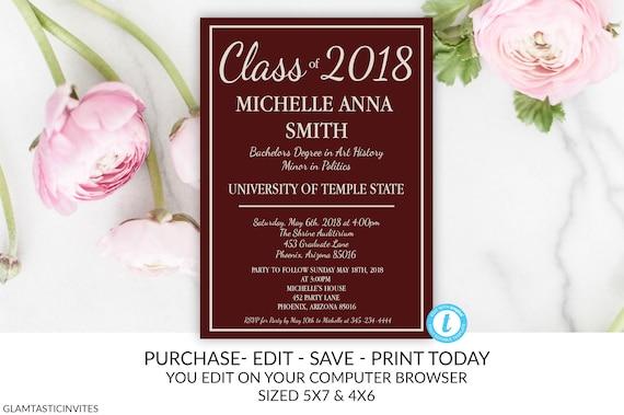Graduation Invitation Template Grad Invite