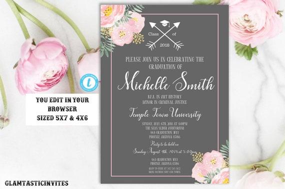 grey floral graduation invitation template instant download