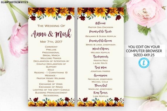 Wedding Ceremony Program Template Sunflower Editable Printable