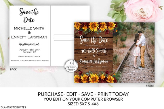 Cheap Sunflower Wedding Invitations: Rustic Sunflower Burgundy Save The Date Printable Editable