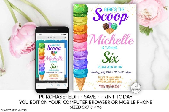 Ice Cream Birthday Party Invitation Heres The Scoop Invite Template Editable Printable Electronic Textable Online DIY