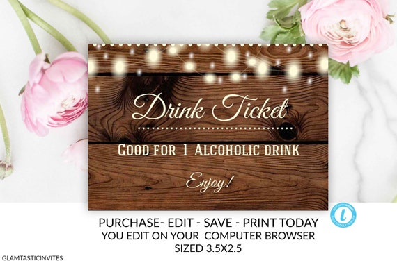 drink ticket template rustic drink ticket alcoholic drink ticket