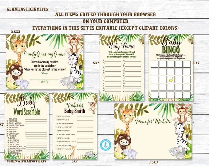 Safari Baby Shower Game Package, Jungle Baby Shower Game Package, Baby Shower Game Package, Gender Neutral, Baby Girl Shower, Editable